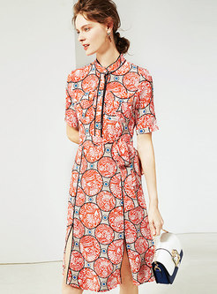 Chic Print Split Stand Collar Tied Skater Dress
