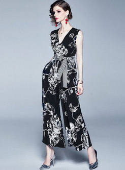 Chic Print V-neck Belted Sleeveless Wide Leg Jumpsuit