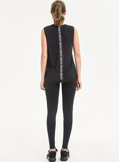 Chic Letter Print Sleeveless Casual Tracksuit