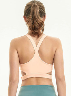 Solid Color Hollow Out Breathable Tight Yoga Bar