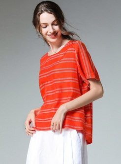 Chic Striped Summer Plus-size Slim T-shirt
