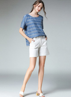 Stylish O-neck Plus-size Striped Short Sleeve T-shirt