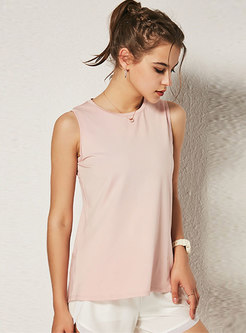 Sexy Pink Backless Tied Sleeveless Slim Top