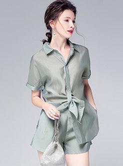 Stylish Lapel Silk Green Blouse & Wide Leg Shorts