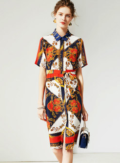Vintage Multi-color Print Lapel Gathered Waist Skater Dress
