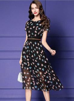 Stylish Print O-neck Gathered Waist Slim Dress