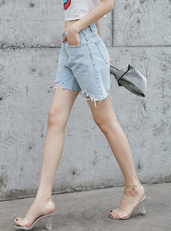 Casual Denim Rough Selvedge High Waisted Shorts