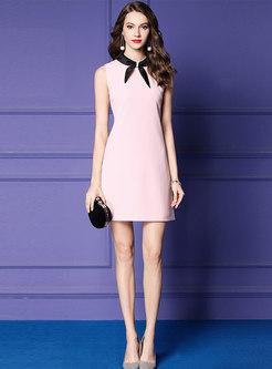 Brief Bowknot Sleeveless Sheath Mini Dress