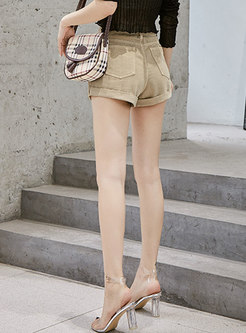Brief Solid Color High Waist Slim Shorts
