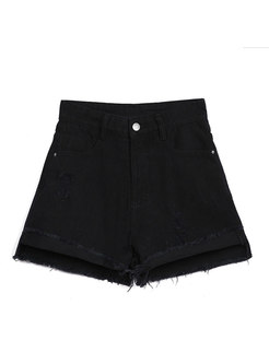 Stylish Black High Waist Holes Asymmetric Shorts