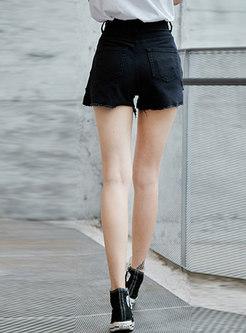 Stylish Black High Waist Holes Asymmetric Shorts