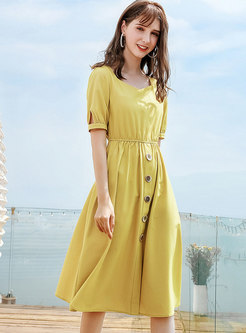 Yellow O-neck Short Sleeve Waist A Line Dress