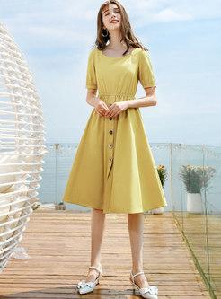 Yellow O-neck Short Sleeve Waist A Line Dress