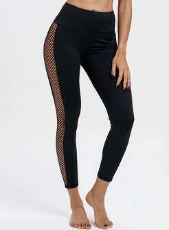 Sexy Mesh Hollow Out Splicing Yoga Sport Pants
