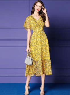 Chiffon Print V-neck High Waist Hem Slim Dress