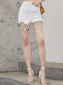 Chic High Waist Rough Selvedge Slim Shorts