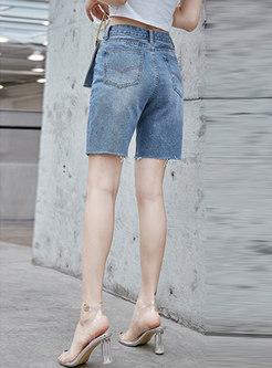 Denim Print High Waist Slim Shorts