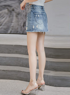 Vintage Denim Tassel High Waist Zipper Shorts