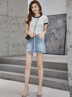 Vintage Denim Tassel High Waist Zipper Shorts
