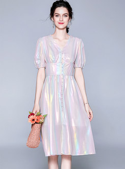 Sweet V-neck Lantern Sleeve Gathered Waist Skater Dress