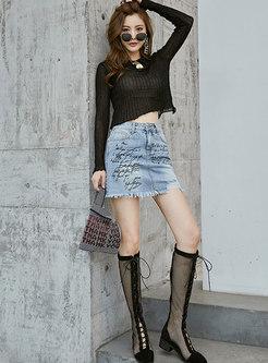 Chic Denim Print High Waist Mini Skirt