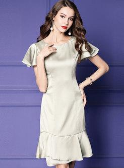 Pure Color O-neck Sheath Mermaid Dress