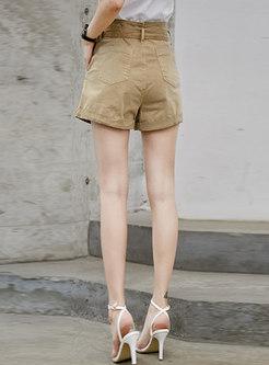 Casual Khaki High Waist Tied Shorts
