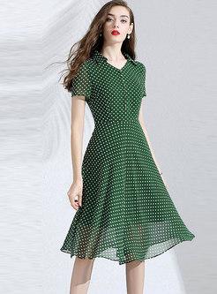V-neck Polka Dot High Waist Big Hem Chiffon Dress
