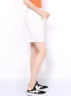 Casual White High Waist Straight Loose Shorts