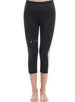 Fashion Color-blocked Letter Print Yoga Pants