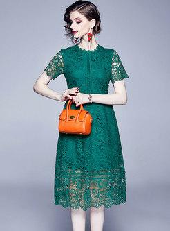 Elegant Solid Color Lace Hollow Out Skater Dress