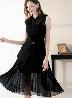 Elegant Splicing Sleeveless Slim Pleated Dress With Cami