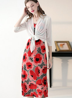 Print V-neck Sheath Slip Dress & Tied Kimono