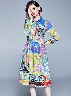 Color-blocked Lapel Floral Print Skater Dress
