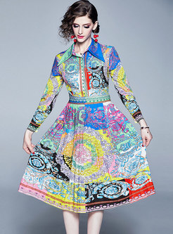 Stylish Color-blocked Lapel Floral Print Skater Dress