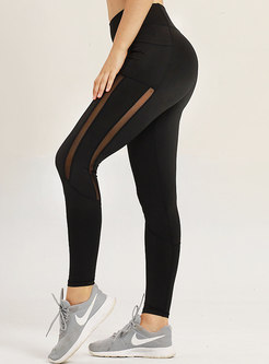 Solid Color See-though Breathable Splicing Tight Yoga Pants