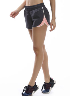 Color-blocked Elastic Waist Breathable Shorts