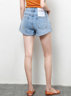 Casual High Waist Easy-matching Denim Shorts
