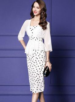 Polka Dot Sheath Slip Dress & V-neck Asymmetric Coat