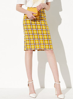 Chic Plaid High Waist Sheath Skirt