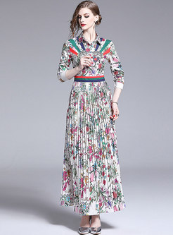 Fashion All-matched Gathered Waist Pleated Maxi Dress