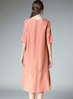 Stylish Pure Color Irregular Slim Shift Dress