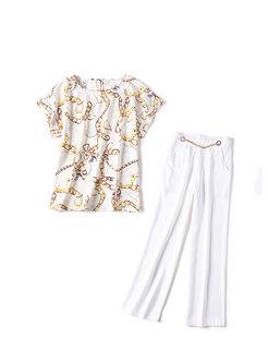 Chic Print O-neck T-shirt & High Waist Wide Leg Pants