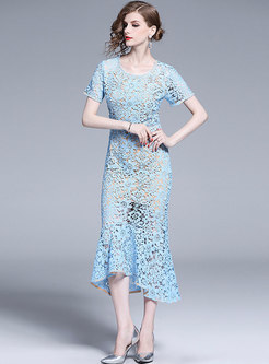 Elegant Lace Hollow Out Perspective Mermaid Bodycon Dress
