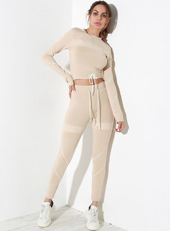 Solid Color Mesh Tied Comfortable Breathable Tracksuit