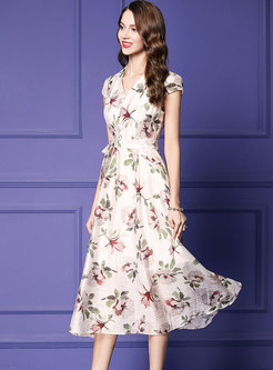 Stylish Print V-neck Belted A Line Dress