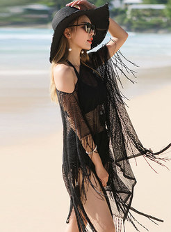 Sexy Halter Tied Tassel Cover-up Swimsuit