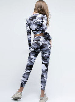 O-neck Long Sleeve Camouflage Breathable Yoga Tracksuit