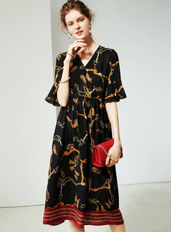 Elegant Striped Print V-neck Silk Skater Dress