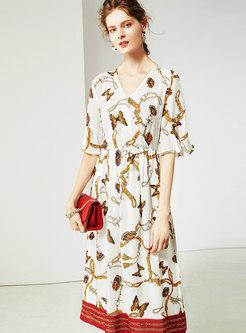 Elegant White Print Half Sleeve Loose Skater Dress